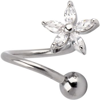 Crystalline LILY FLOWER Twister Belly Ring $6.99 #piercing