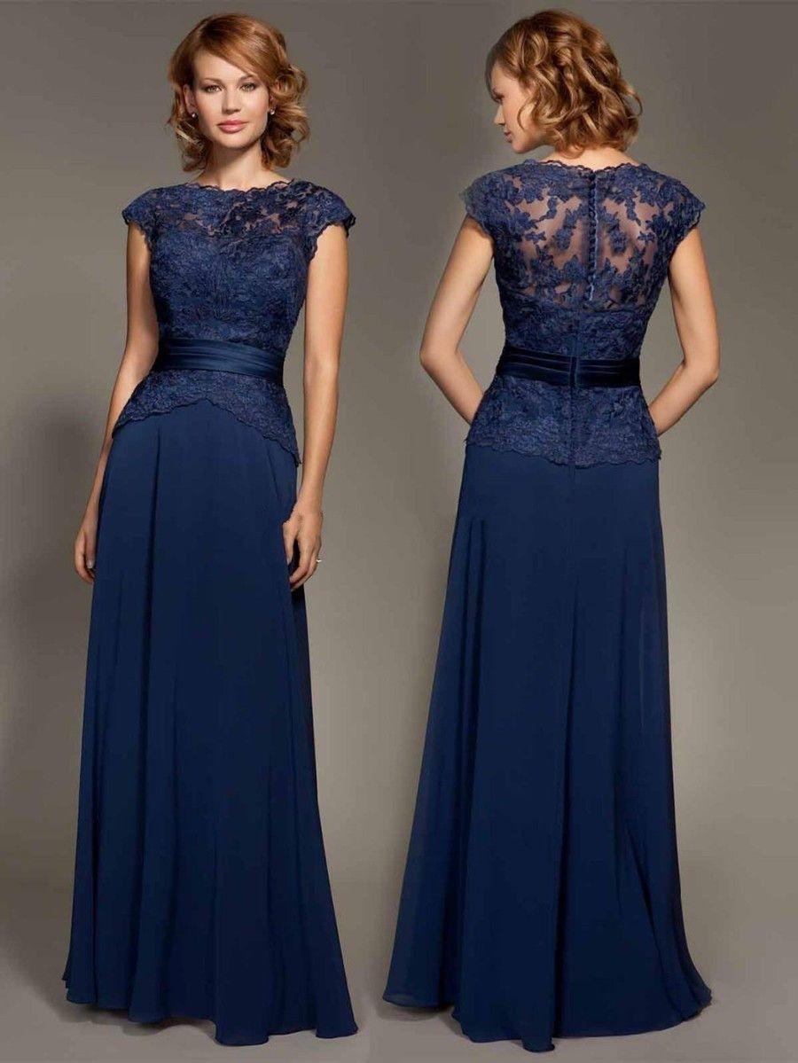 Elegant navy blue long evening dress simple appliques lace