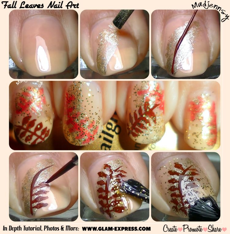 Fall Leaves Nail Tutorial - Glam Express | Nail Tutorials ...