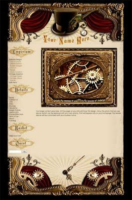steampunk website template with tophat and gearworks my style