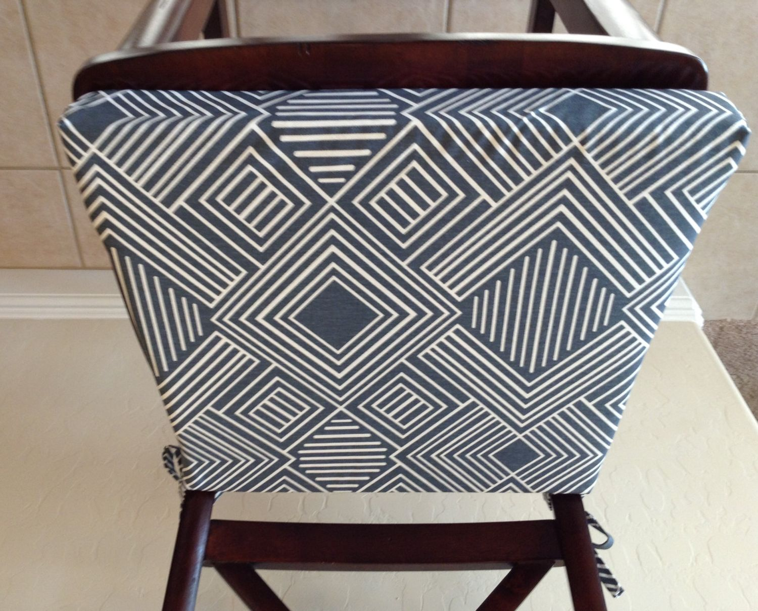 Beautiful Geometric Print Seat Cushion Cover, Kitchen Chair Pad, Gunmetal Blue/gray  On Cream