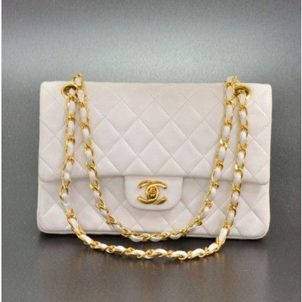 Chanel White Quilted Leather 2.55 Double Flap Shoulder Bag with Gold Chain