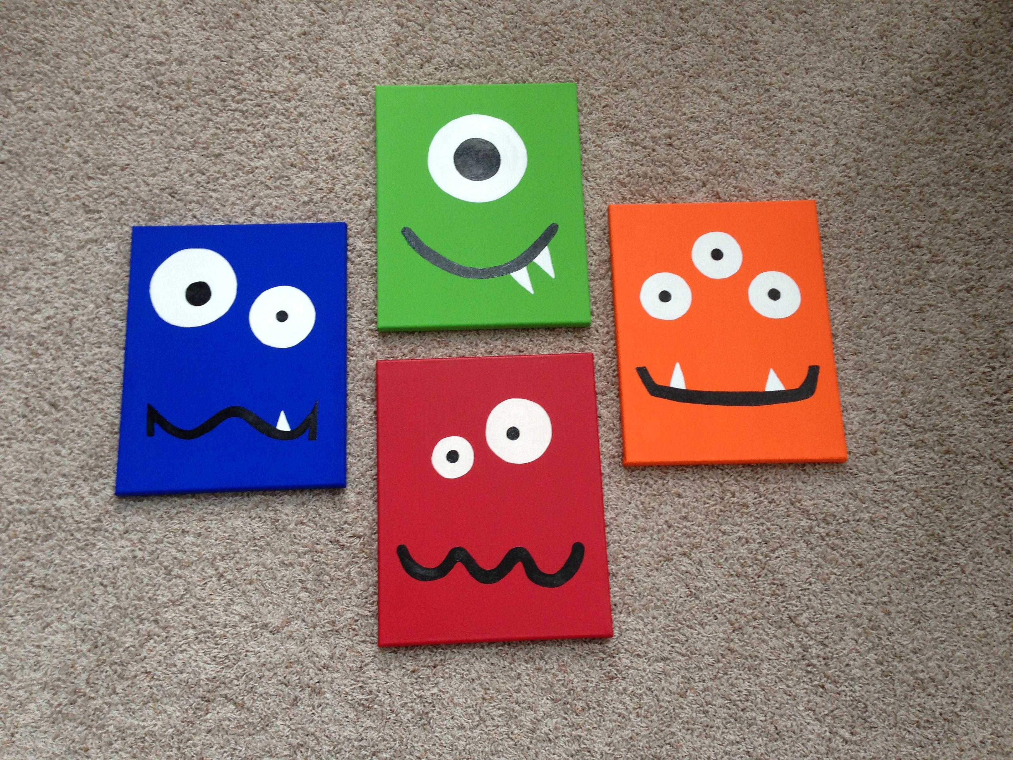 Monster canvas art for baby nursery Monster