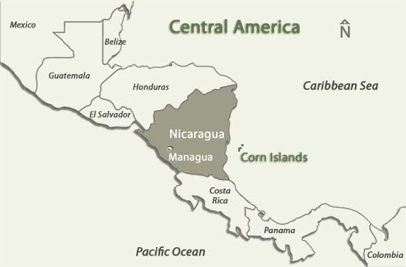 Central America Countries Highlighting Nicaragua And The Corn - Nicaragua maps with countries