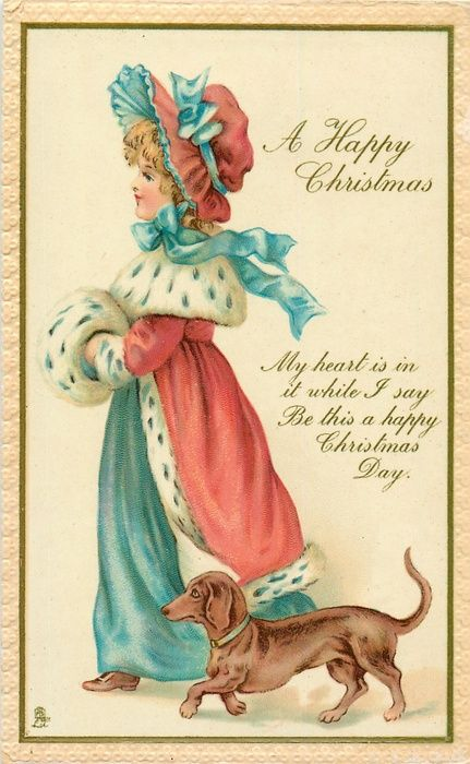 A Happy Christmas Or Christmas Greetings Girl Dachsund