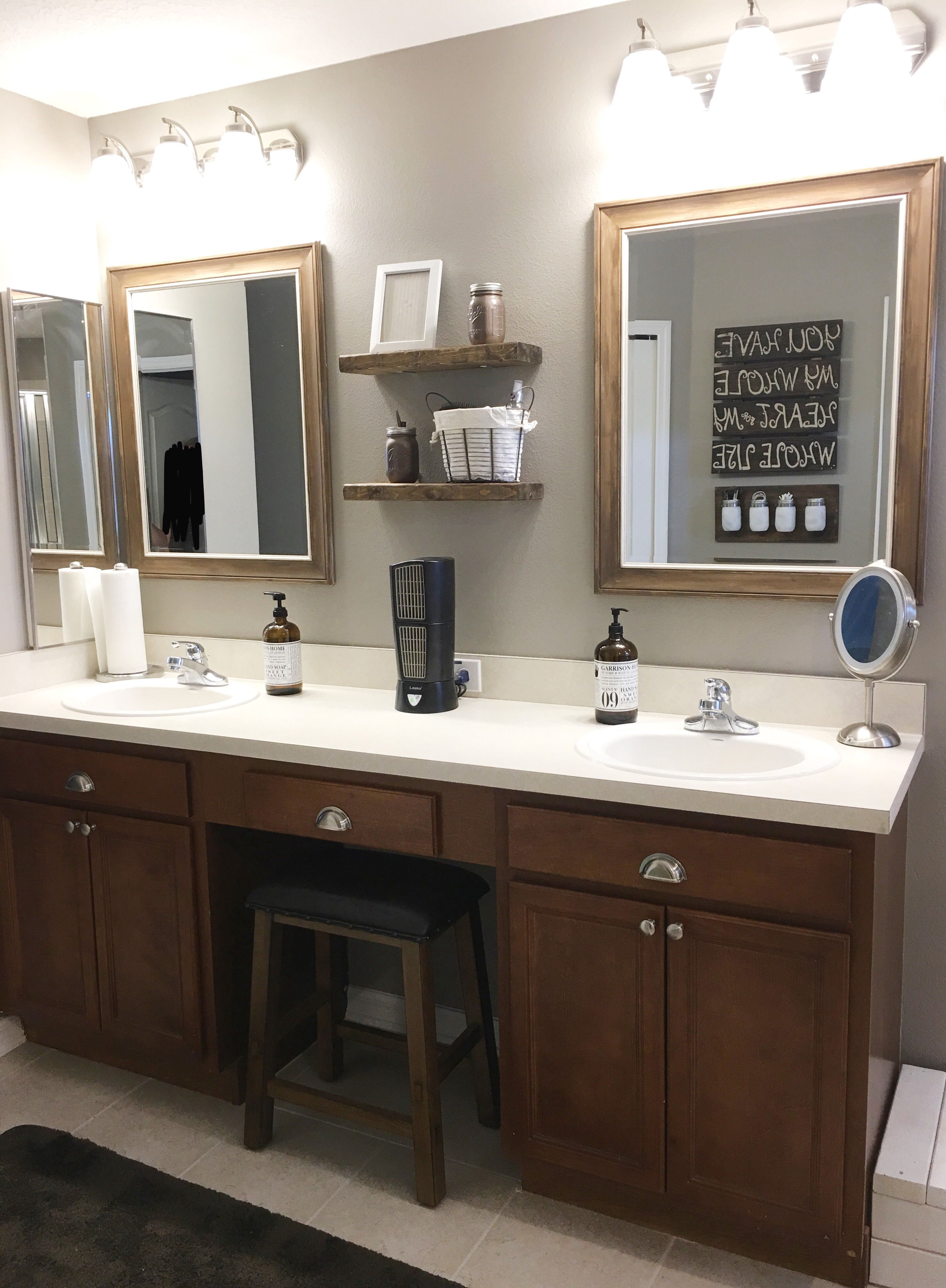 Master Bathroom Refresh Replaced Our Builder Grade Mirror With Two Hanging Mirrors That Bathroom Wall Decor Master Bathroom Refresh Bathroom Mirror With Shelf
