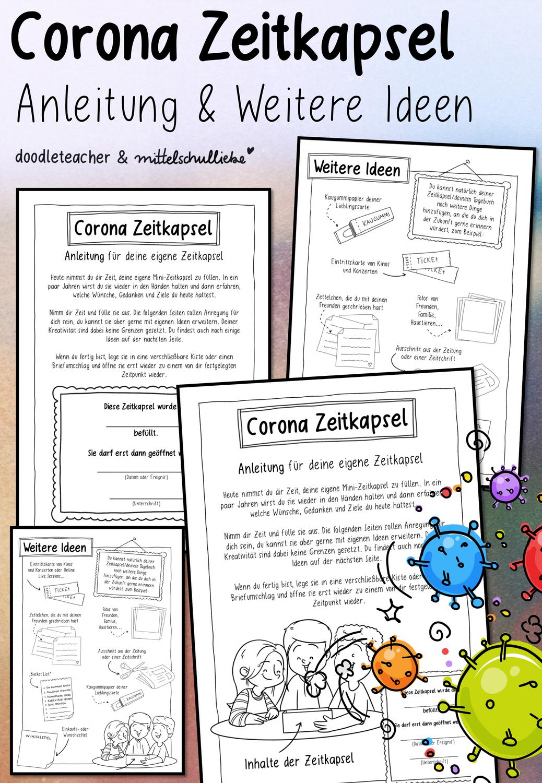 Corona Zeitkapsel Anleitung Und Weitere Ideen Unterrichtsmaterial In Den Fachern Daz Daf Deutsch Zeitkapsel Kinder Aktivitaten Corona