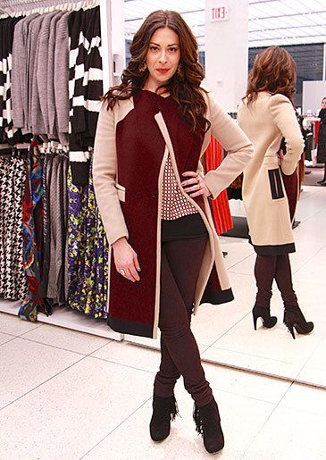 Coat by O'2nd Blouse by Topshop Leather Pants by Helmut ... Love her!