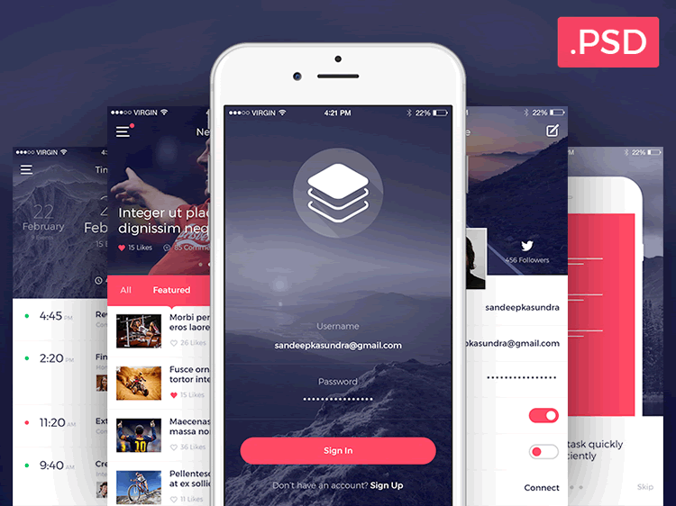 Top 50 free mobile ui kits for ios android ui kit ios ui and clean free modern ios ui kit 10 screens psd format sandeep kasundra pronofoot35fo Images