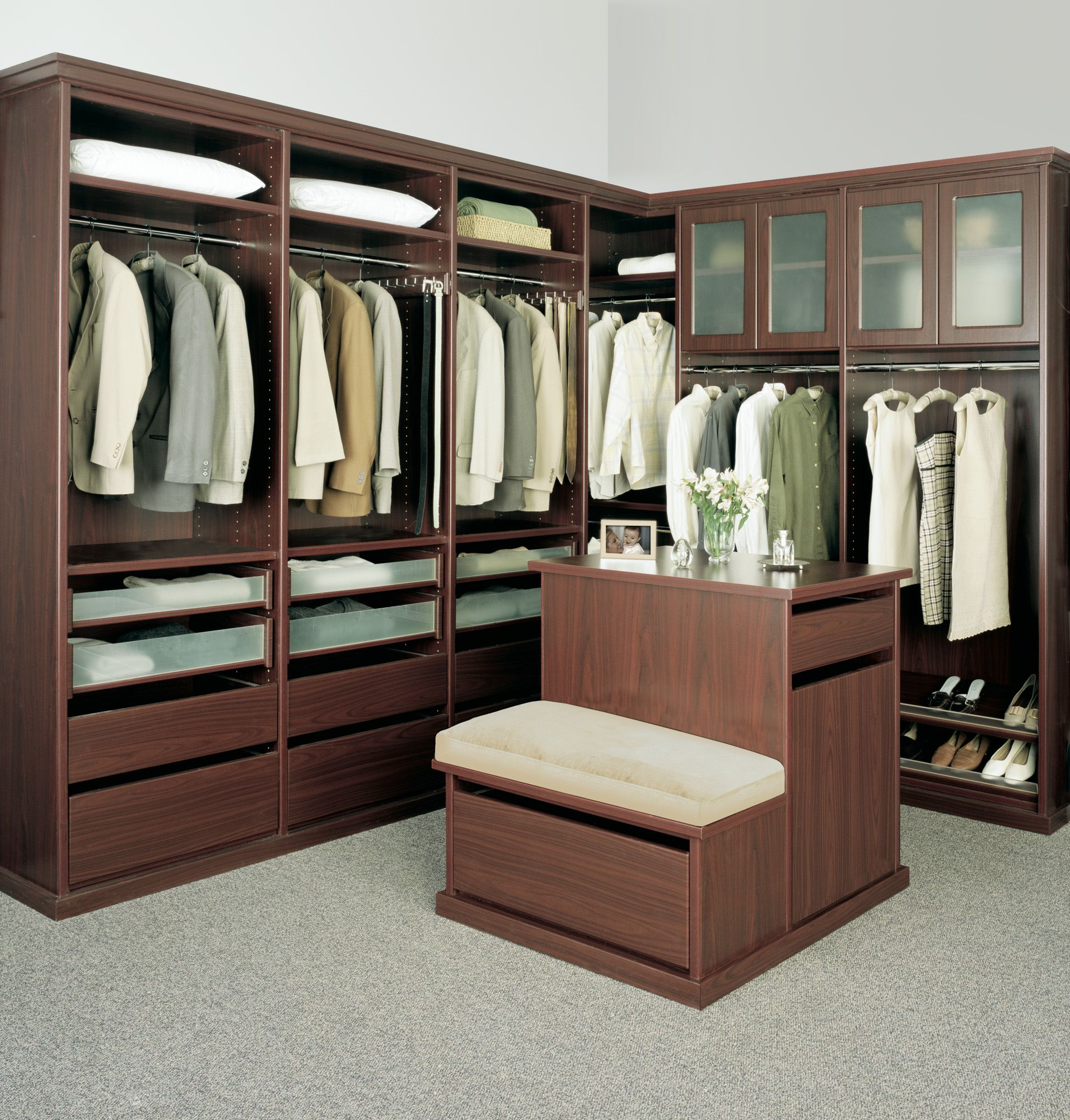 Legacy Deluxe walk in closet in a African Walnut finish