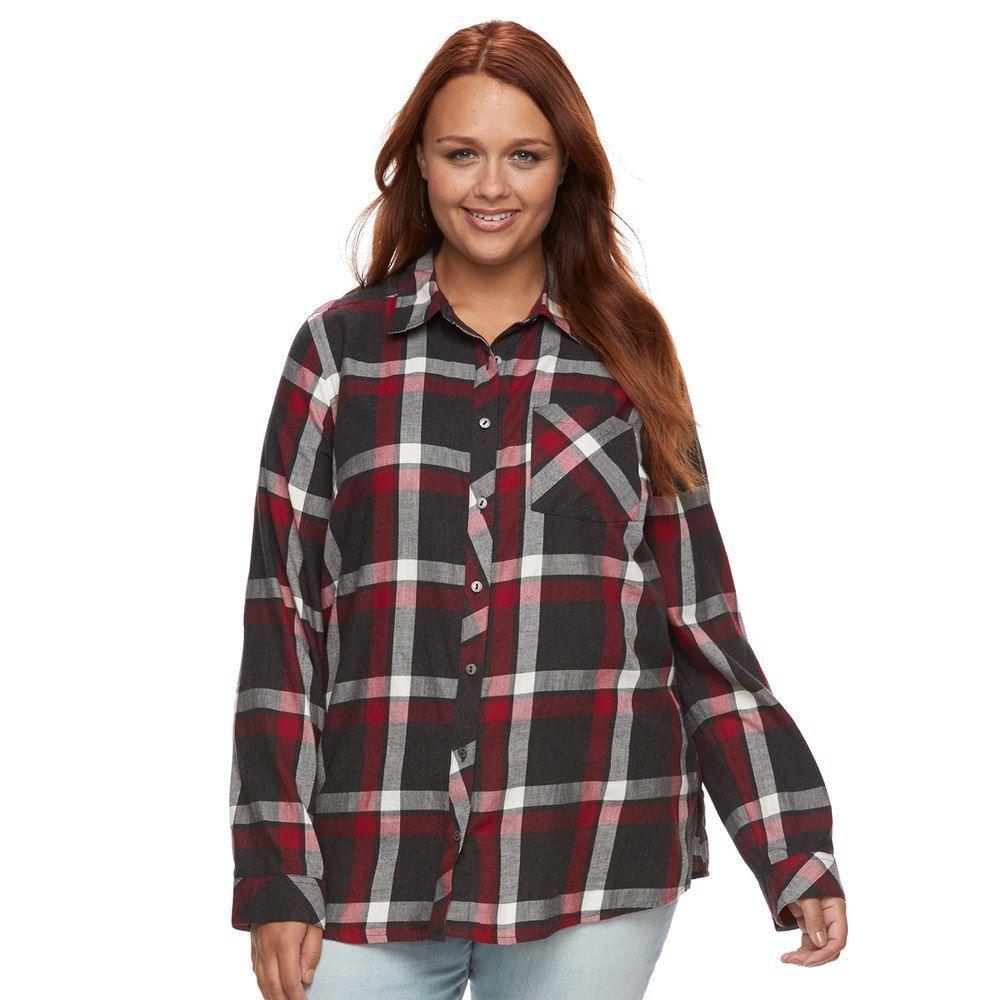 Flannel shirt plus size  Plus Size SONOMA Goods for Lifeâue Essential Plaid Flannel Shirt