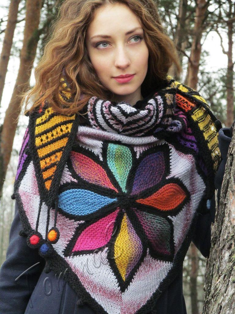 "Knit shawl ""Da Vinci Code"" (knitted shawl, wool shawl, modular knitting, knit patchwork, stained-glass shawl, hand knit shawl)"