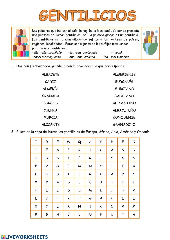 Gentilicios Ficha Interactiva Gentilicios Apuntes De Lengua Fichas