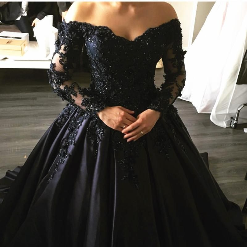 Navy Blue Lace Appliques Long Sleeves Ball Gowns Wedding Dresses Off ...