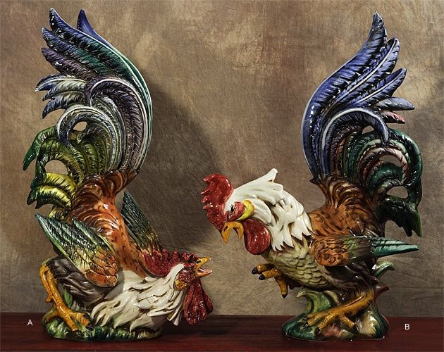 Italian Ceramic Roosters Intrada Italy Fighting Roosters