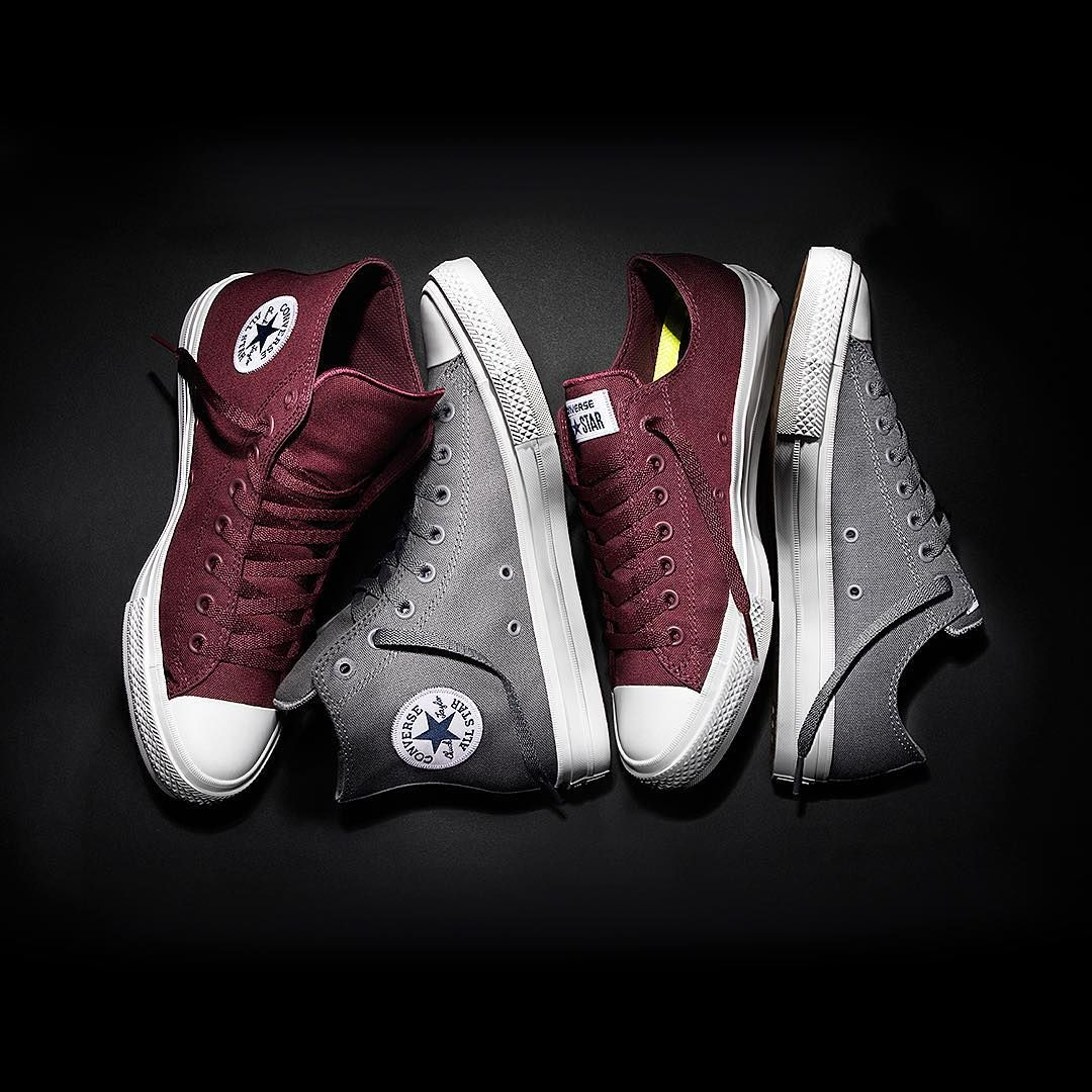 """Who's ready for more? the Converse Chuck Taylor All Star II in Bordeaux and Gray, now available in select markets. #ChuckII"""