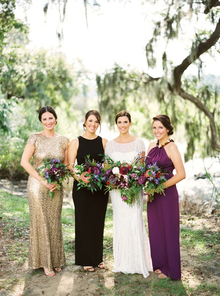 Jewel Toned Bridesmaid Dresses + autumn wedding bouquet | fabmood.com