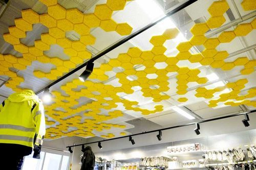 Suspended Ceiling Tile Made By Recycled Materials Traullit Dekor Acoustic Ceiling Tiles Acoustical Ceiling Suspended Ceiling