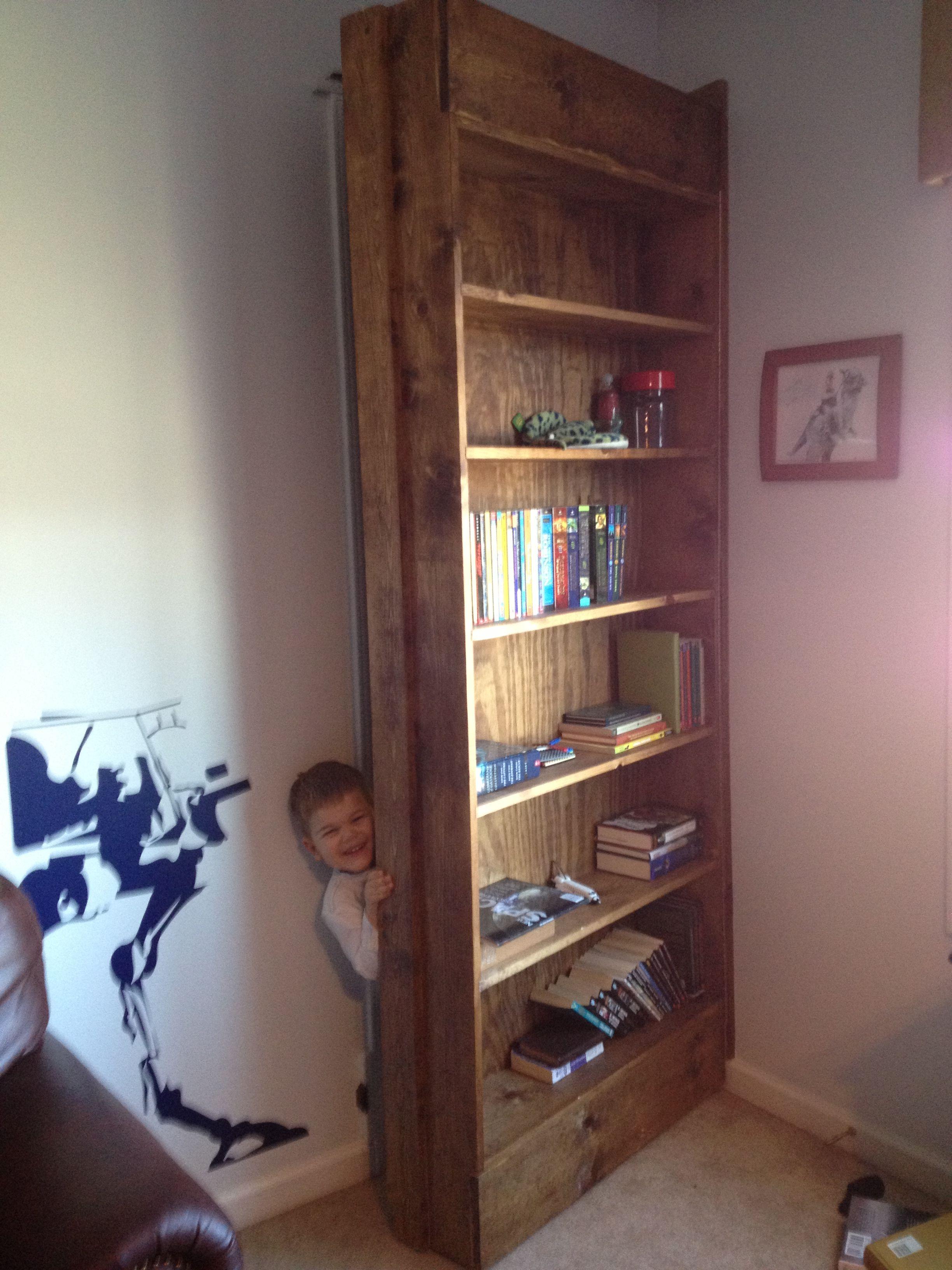 Bookshelf Door That Leads To A Secret Passage Way