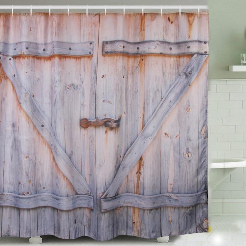 Wood Door Digital Printing Polyester Shower Curtain 180 * 180cm ...