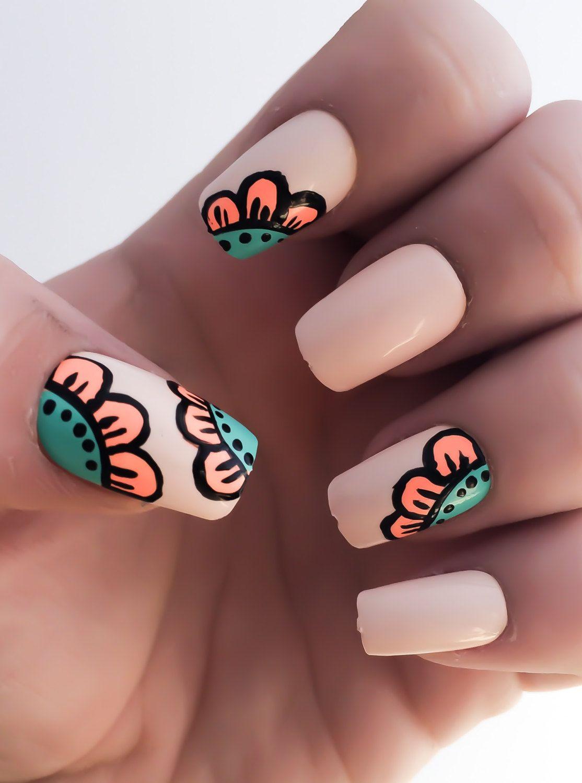 Flower Fake Nails, Nude Nail Polish, Coral Nails, Acrylic Nails ...