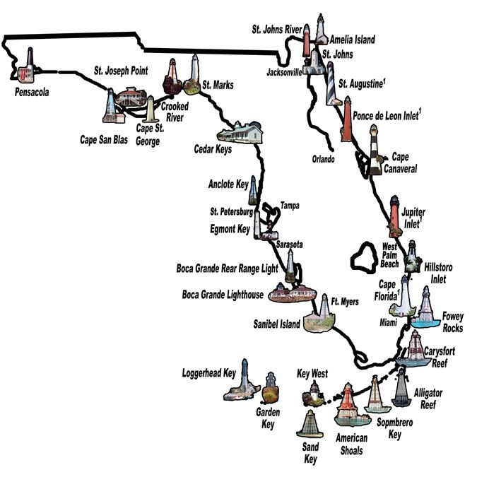 The Map Of Florida.Here S A Map Of The Lighthouses In Florida Including Those Around