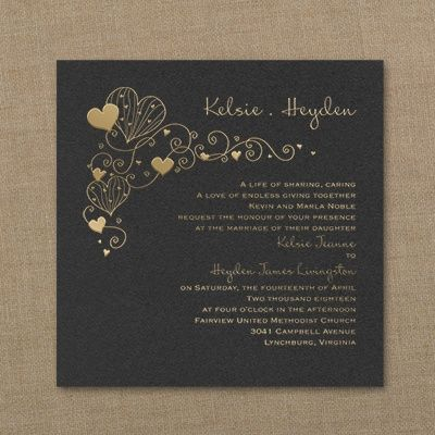 """Unique Hearts in Harmony - Imperial Wedding Invitations  - Black Whimsical hearts in harmony generate joy on this black invitation.  Product Details •Dimensions: 6"""" x 6"""" Card •Type of Printing: Foil •Price Includes: Printed invitation and blank single outer envelope in your color choice • Production Time: 3 Working Days"""