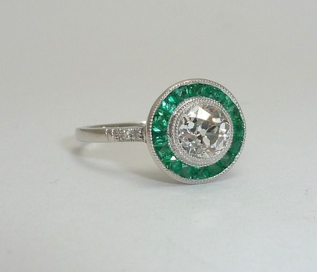 Art Deco 1 61ct Diamond Emerald Target Ring In Platinum Art Deco Ring Rings Diamond