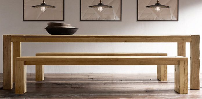No Black Color If Go With Bench   Parsons Recalimed Russian Oak Dining Bench  | Restoration Hardware