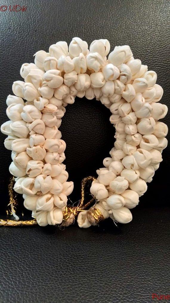 New Indian Women Hair accessories Gajra Artificial Flower Jewelry Handmade Costume Veni Bun Gajra For Women Wedding Wear Indian Bun