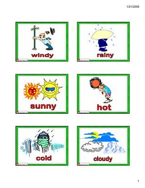English for Kids,ESL Flashcards weather vocabulary- cold, hot ...