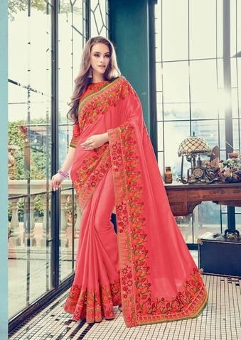 176d0ad675 Dusty Pink Color Satin silk Sarees - gloria - 24357 #fashion #look #looking  #popular #offer #trend #trending #design #new #collection #amazing  #fashionable ...