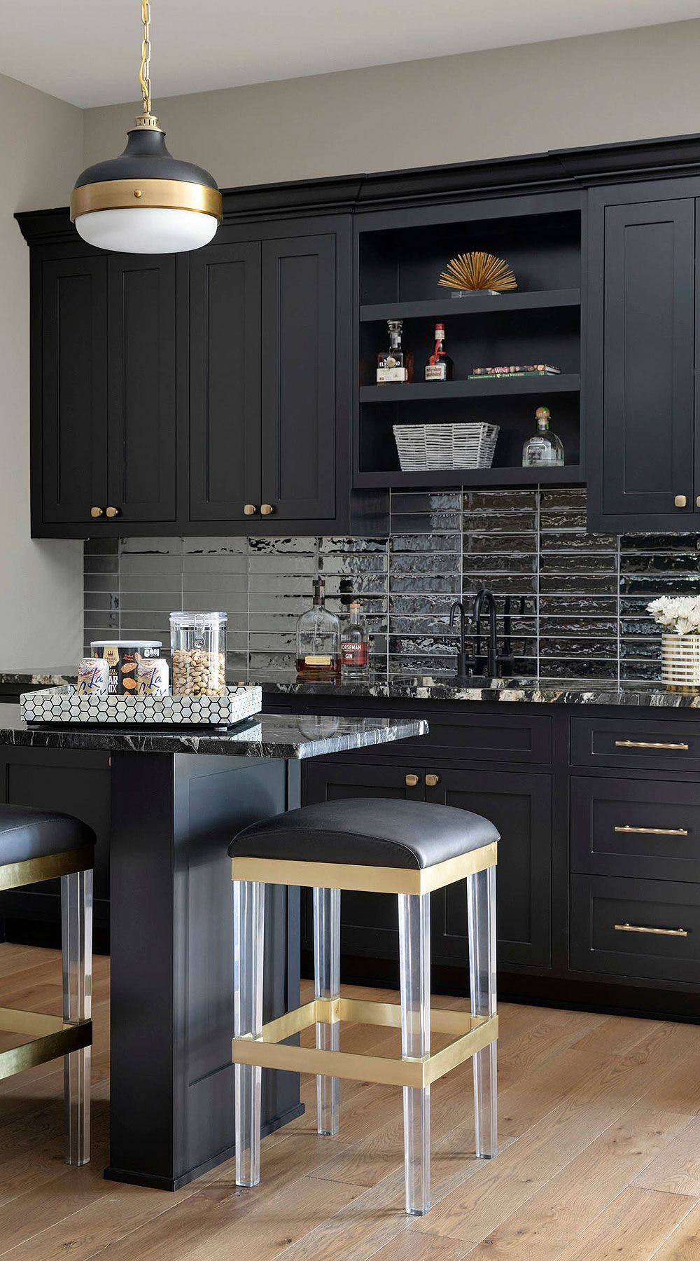 31 Black Subway Backsplash Ideas The Power Of Black Color Black Kitchen Cabinets Black Kitchens Black Countertops