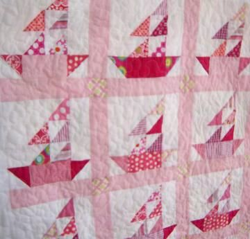 The Regatta Baby Sailboat Quilt in Shades of Pink and White by DreamyVintageSheets for $155.00