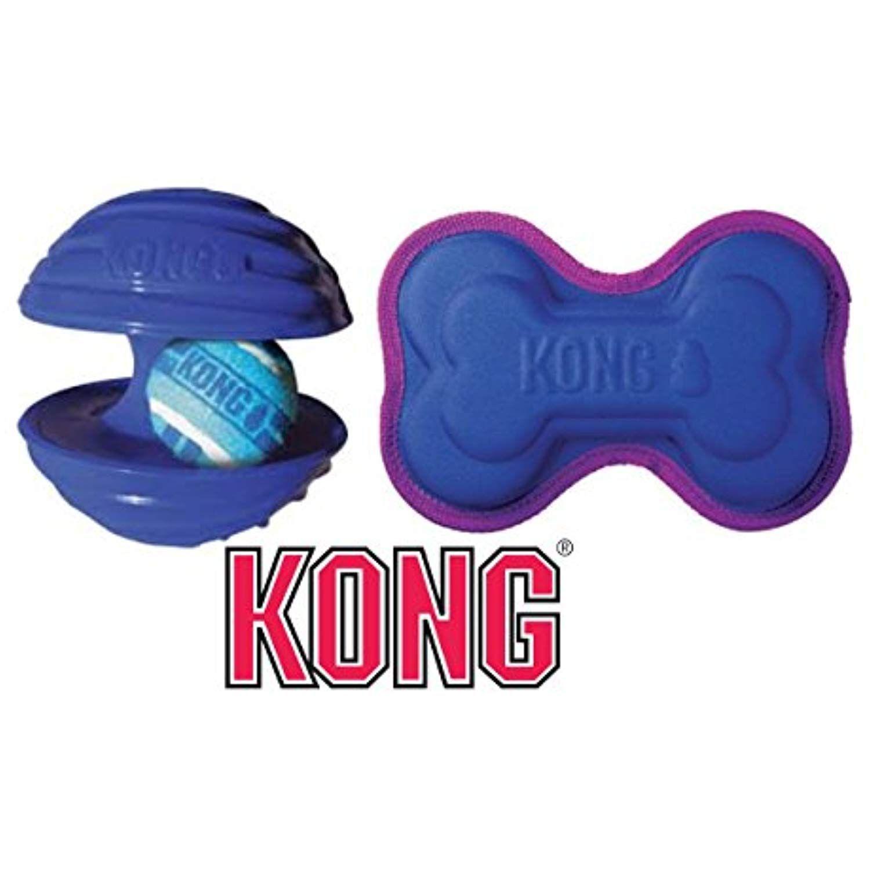 Kong Ballistic Imprints Bone And Rambler Dog Toy Set Of 2