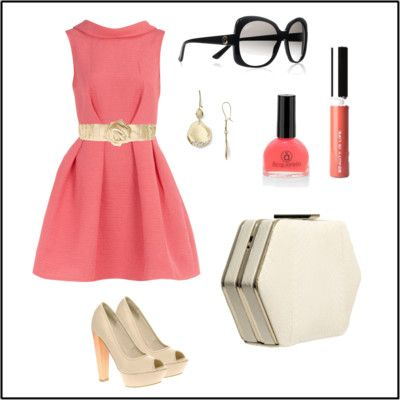 Coral colored dress accessories