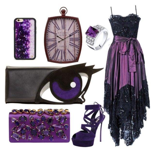 """eye love purple"" by janeellie ❤ liked on Polyvore featuring Pierre Hardy, Prada, Yves Saint Laurent, Wildflower, Casadei and Oravo"