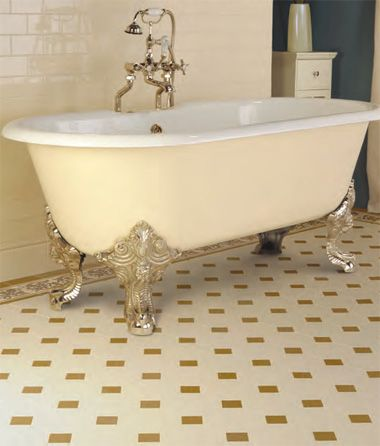 Bathroom With Original Style Victorian Tiles White Walls White Floor With Signature Colour Copper