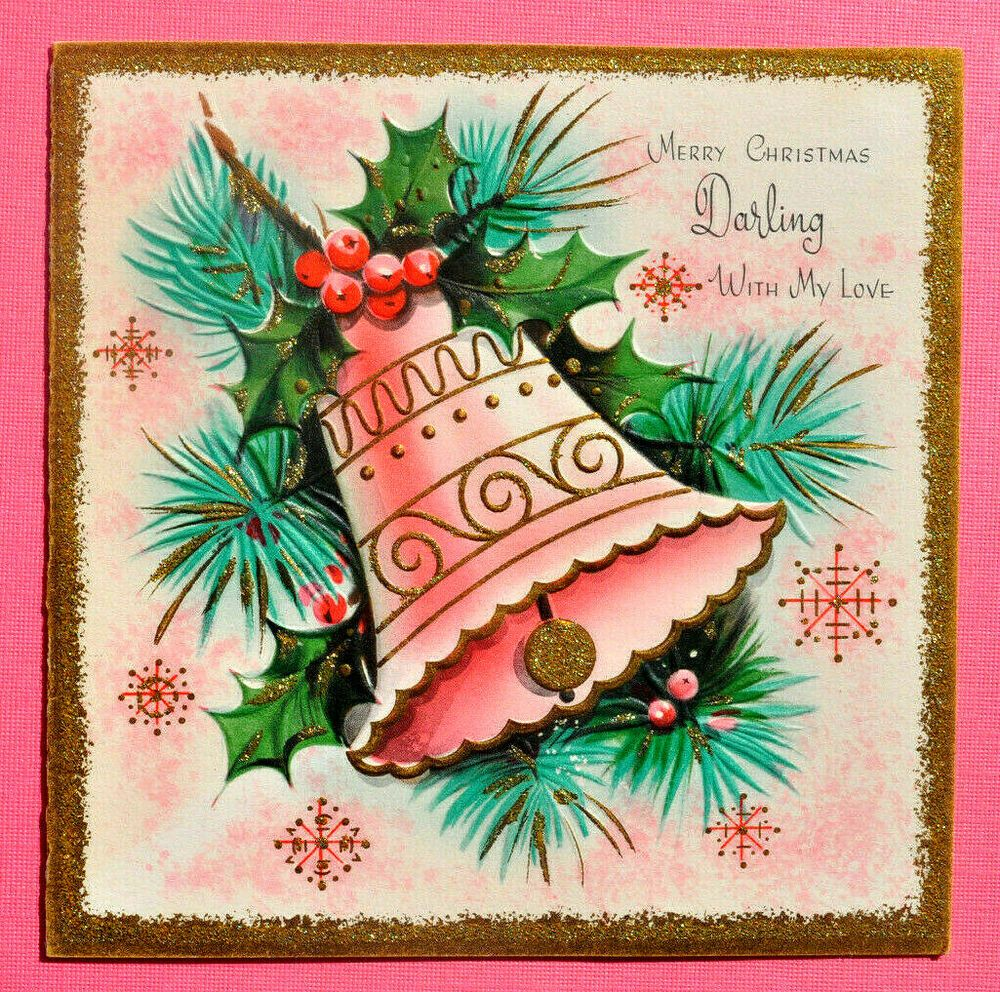 1950s PINK BELL ~Vtg XMAS GREETING CARD Holly Pine Gold
