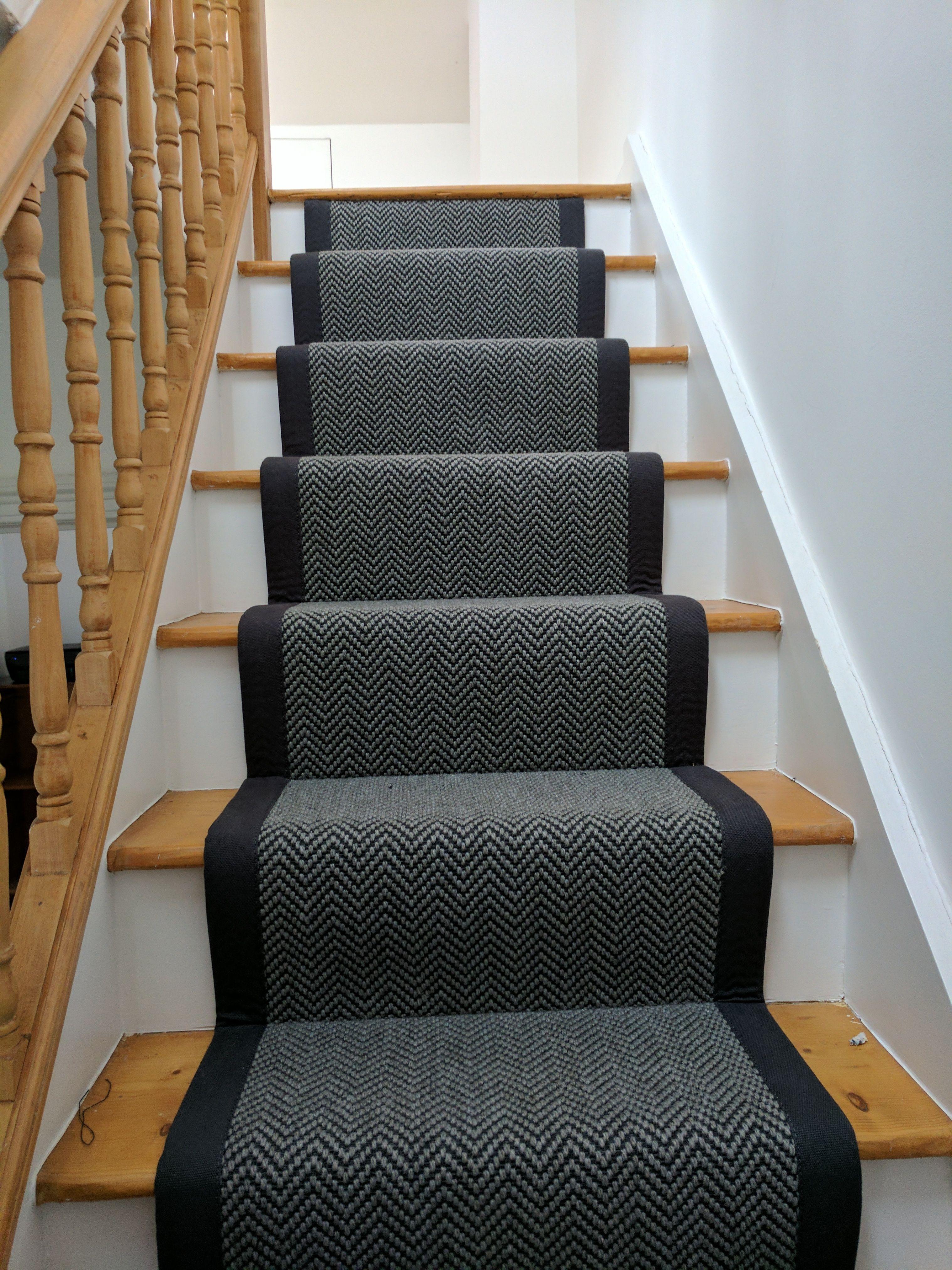 Black Grey Herringbone Stair Runner With Black Binding By B R