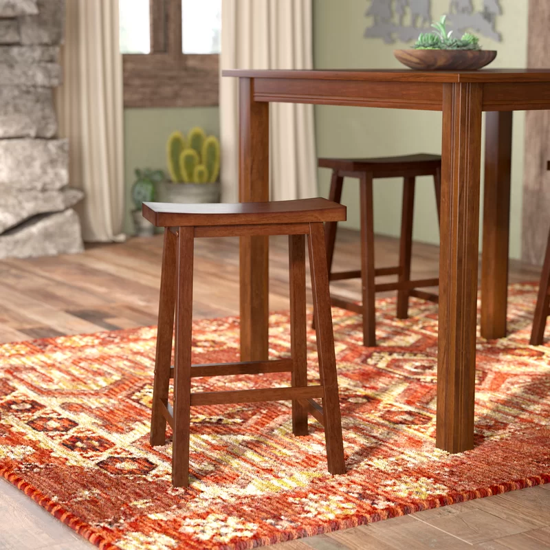 Winsome Saddle Seat 24 Inch Counter Stool Walnut Home