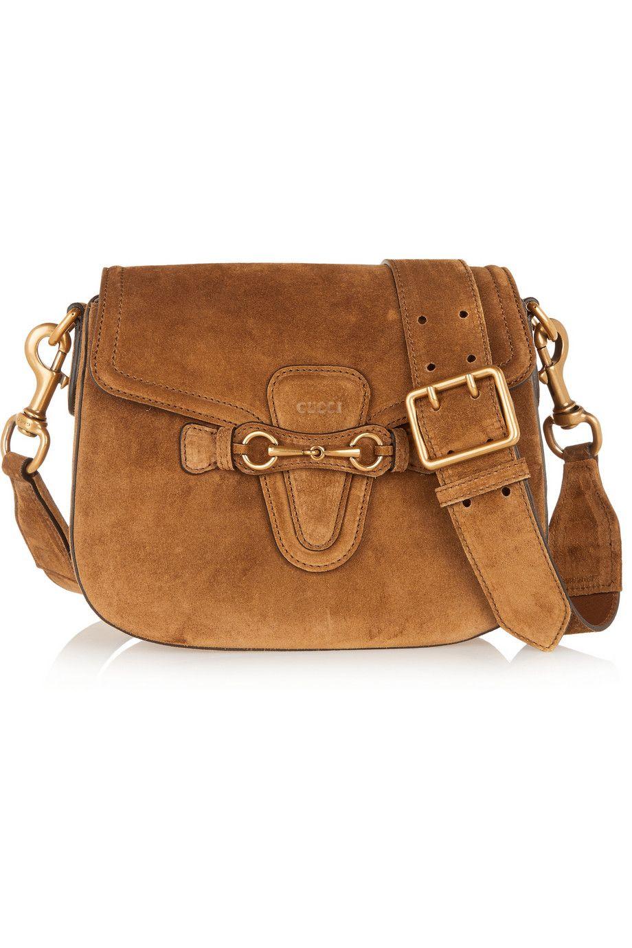 Gucci Lady Web Medium Suede Shoulder Bag