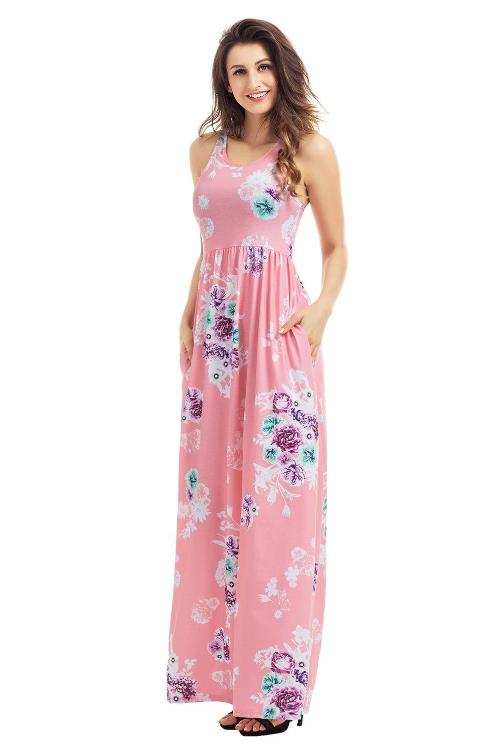 Dusty pink floral print sleeveless long boho dress products