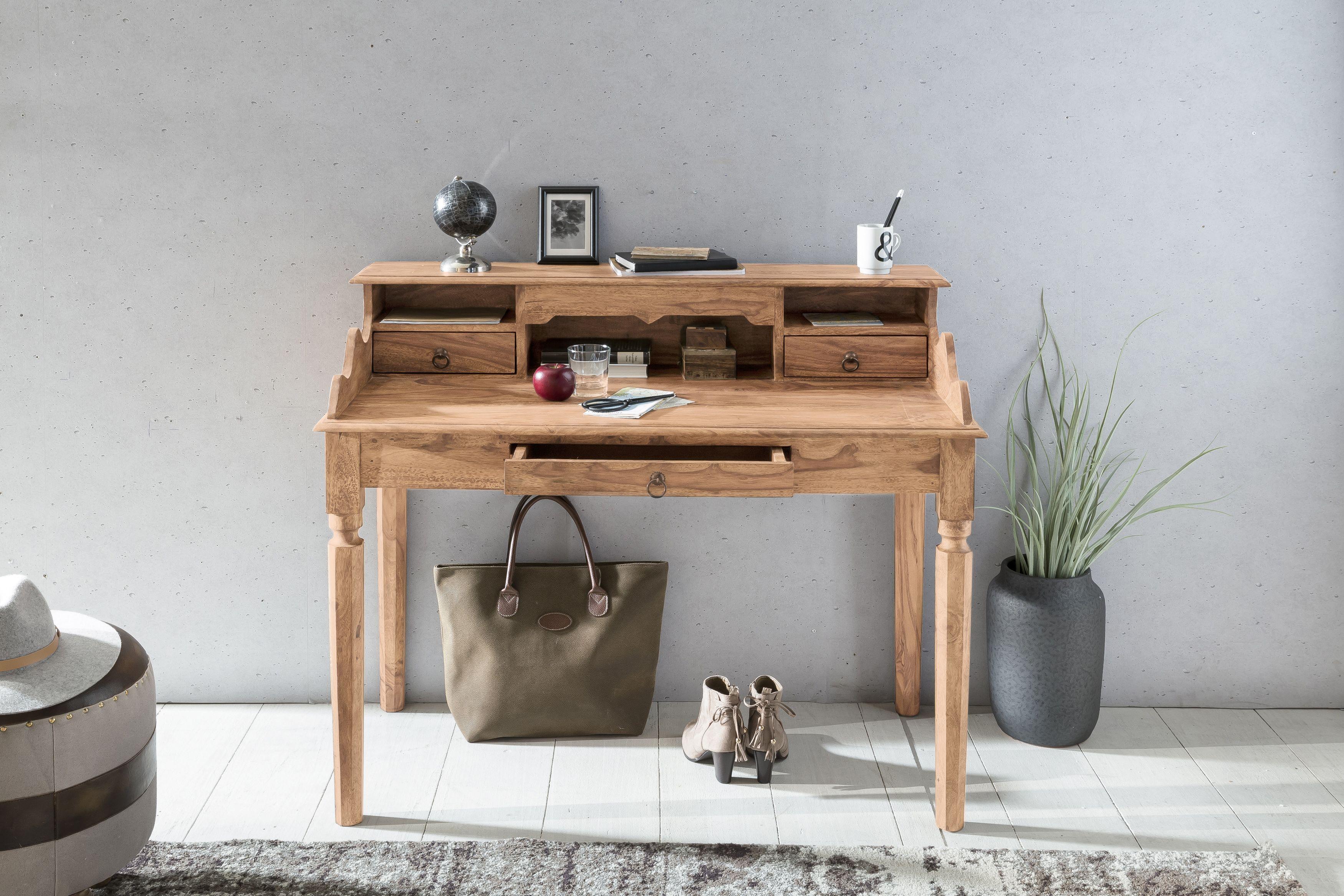Schreibtisch extravagant  Wohnling Schreibtisch Kada 115 cm WL1.752 aus Akazie Massivholz ...