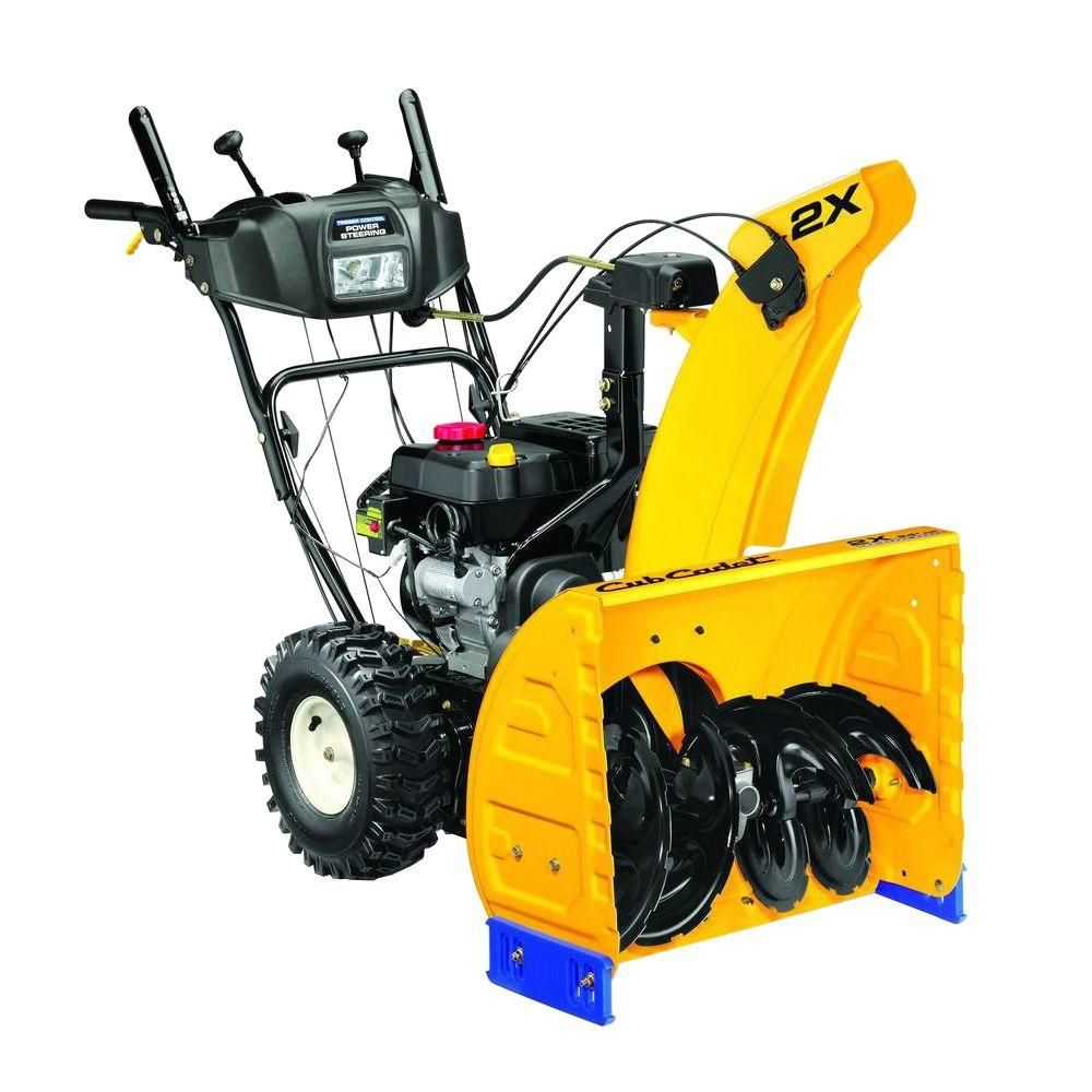 2x 24 In 208cc Two Stage Electric Start Gas Snow Blower With Power Steering And Steel Chute Gas Snow Blower Commercial Zero Turn Mowers Zero Turn Mowers