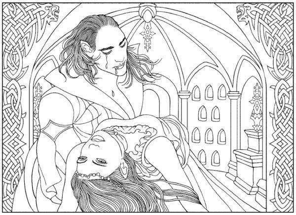 Vampire Coloring Pages For Adults Halloween Coloring Book Halloween Coloring Coloring Books