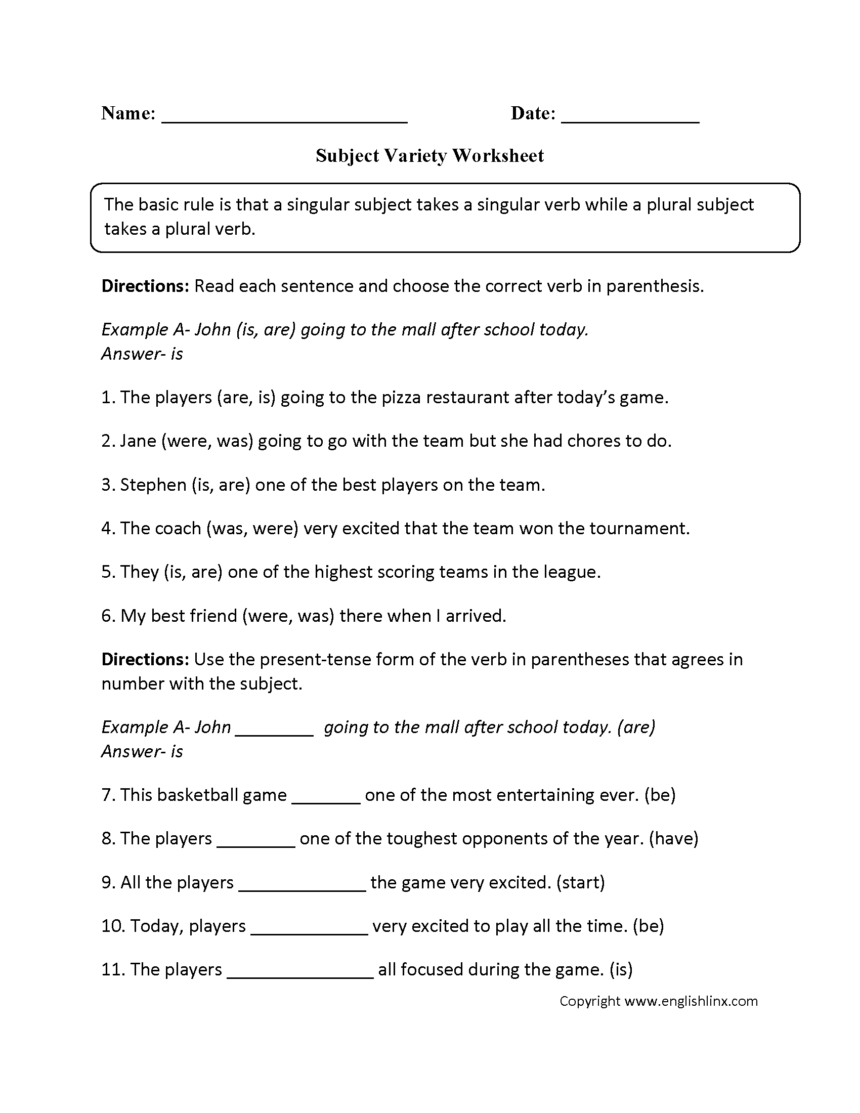 Subject Variety Subject Verb Agreement Worksheet