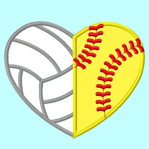 Volleyball And Softball Heart Shape Applique Embroidery Design Instant Download Applique Embroidery Designs Volleyball Wallpaper Softball