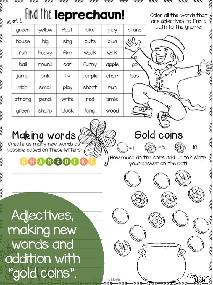 A fun St.Patrick's Day activity for kids! Language, math, reading and writing in one FREE download!