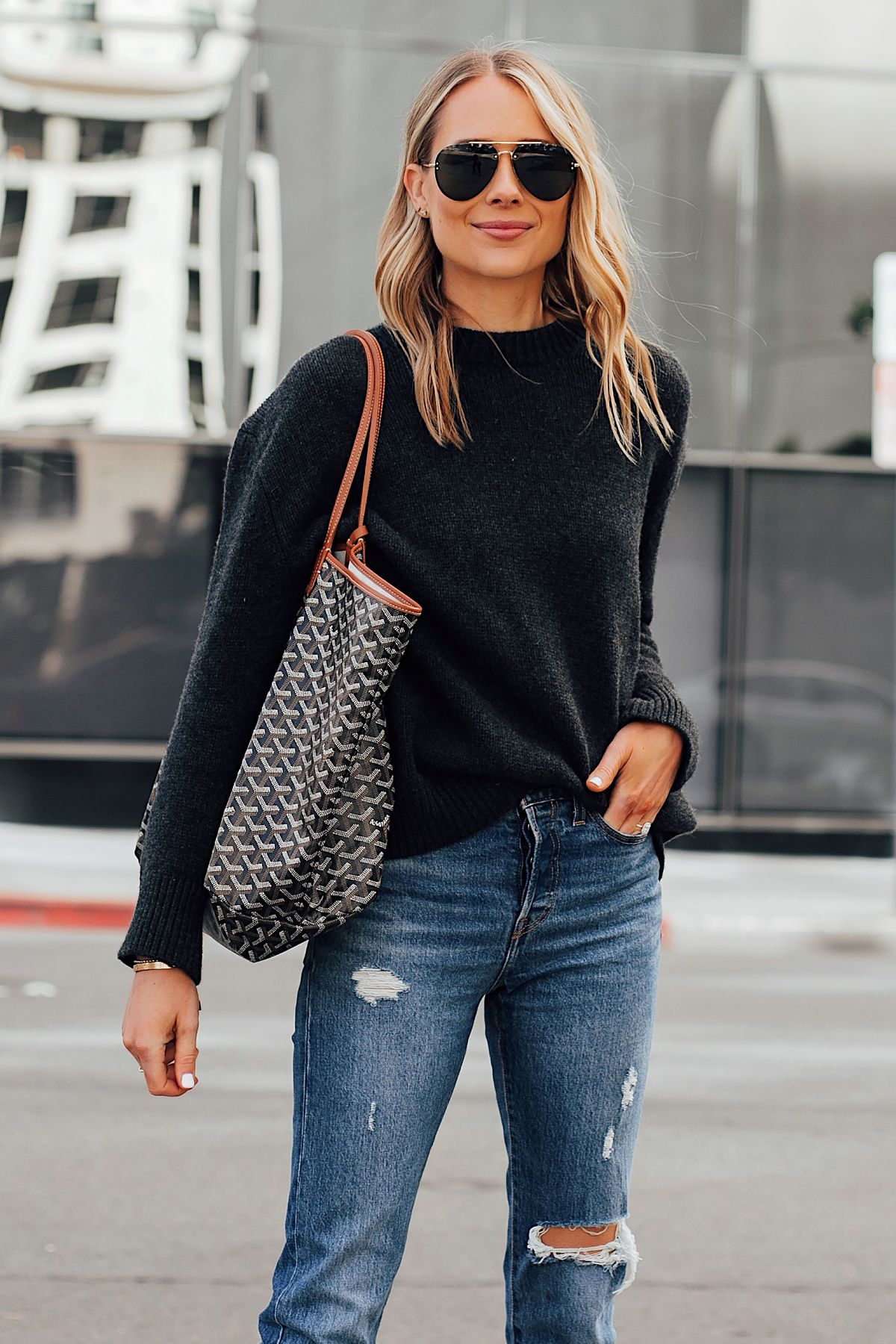 17c3b32ab9a12d Fashion Jackson Wearing Anine Bing Black Sweater Levis Ripped Jeans Goyard  St Louis GM Tote